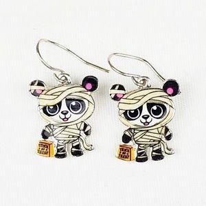 Mummy Panda Bear Earrings Halloween